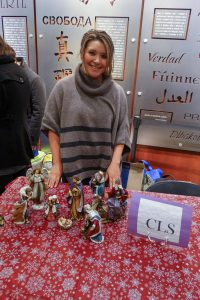 A nativity scene at the Christian Legal Society table for the 2015 Holiday Fest