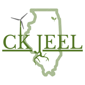 CK Jeel Logo: a pale green map of IL with the title overlayed with a wind turbine and roots overlayed on the K and J