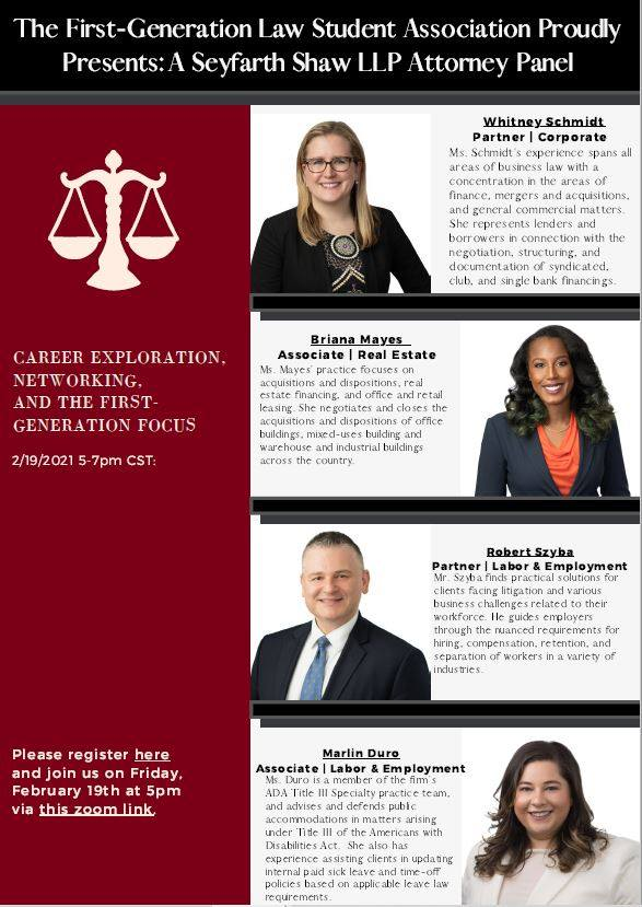 Seyfarth Shaw LLP: Career Exploration, Networking, and the First-Generation Focus (flyer)