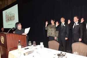 2015 Installation & Awards Dinner. Swearing in of 2015-16 Officers, Jessica DePinto (President), Frank Sommario (1st Vice-President) and Michael Bonamarte IV (2nd Vice-President)