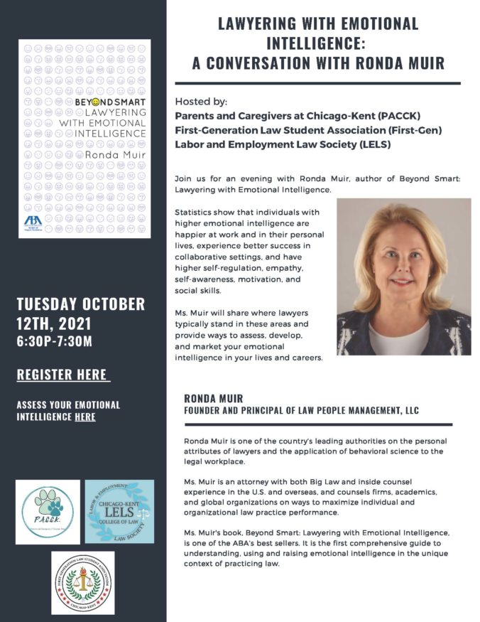 Event Flyer for Lawyering with Emotional Intelligence: A Conversation with Ronda Muir