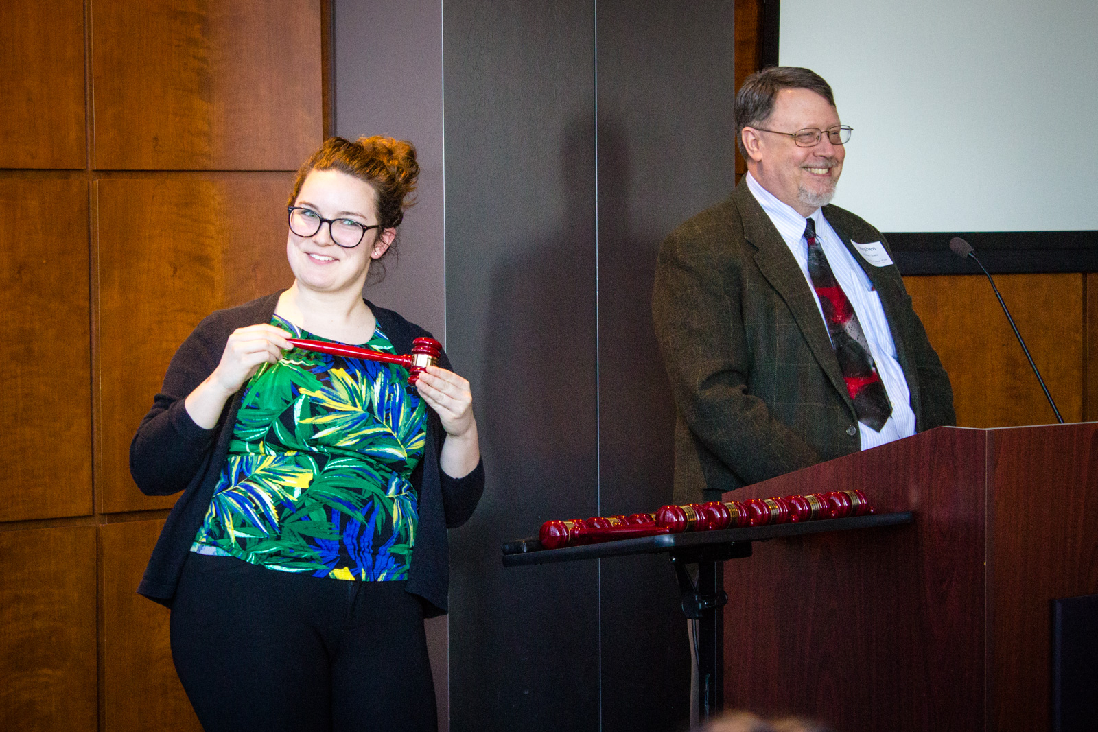 Miranda Huber and Dean Sowle present the official Gavels