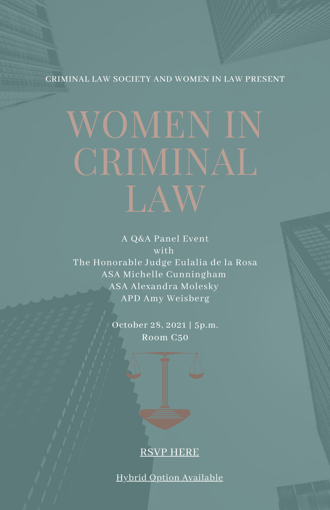 Event flyer: Women in Criminal Law event on October 25, 2021 at 5pm