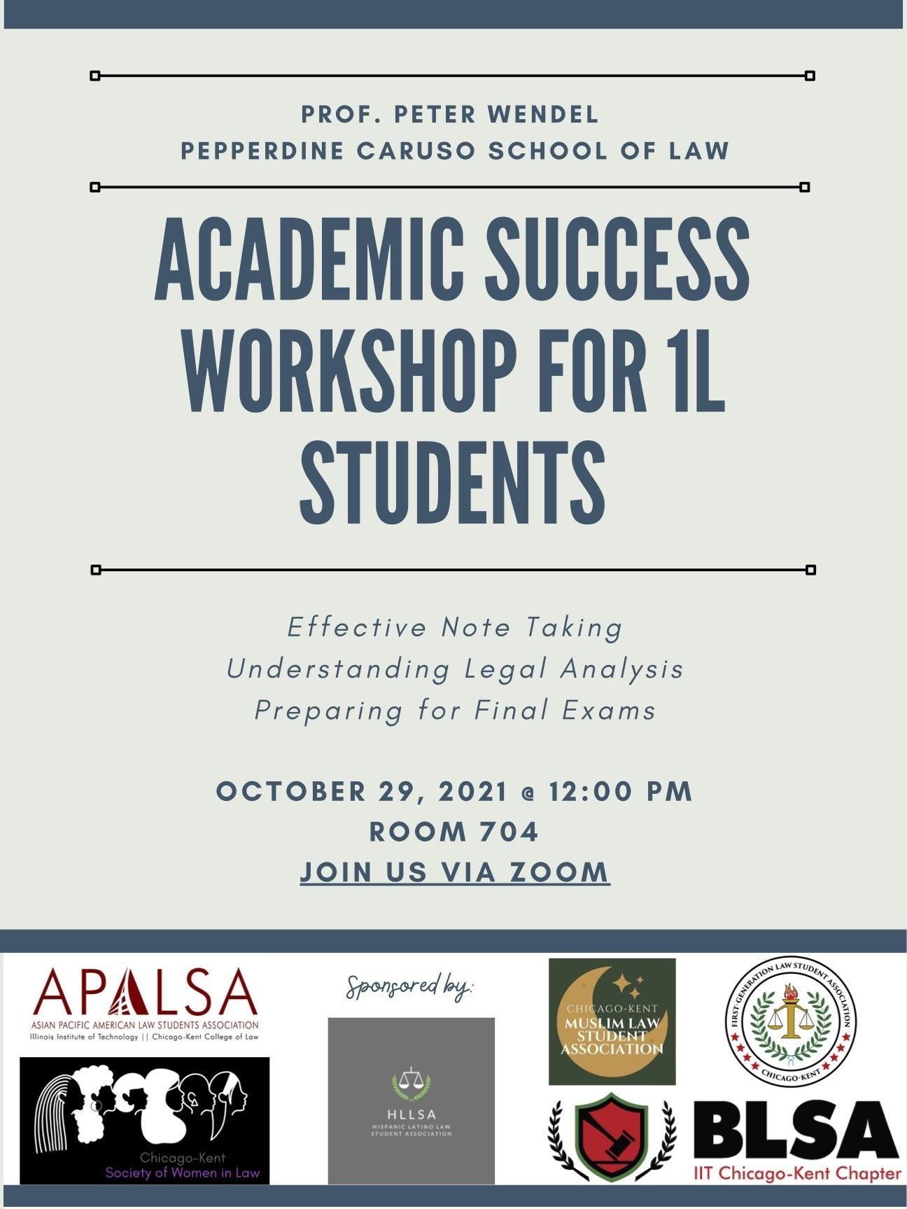Flyer for 1L Success Workshop on Friday, 10/29/21