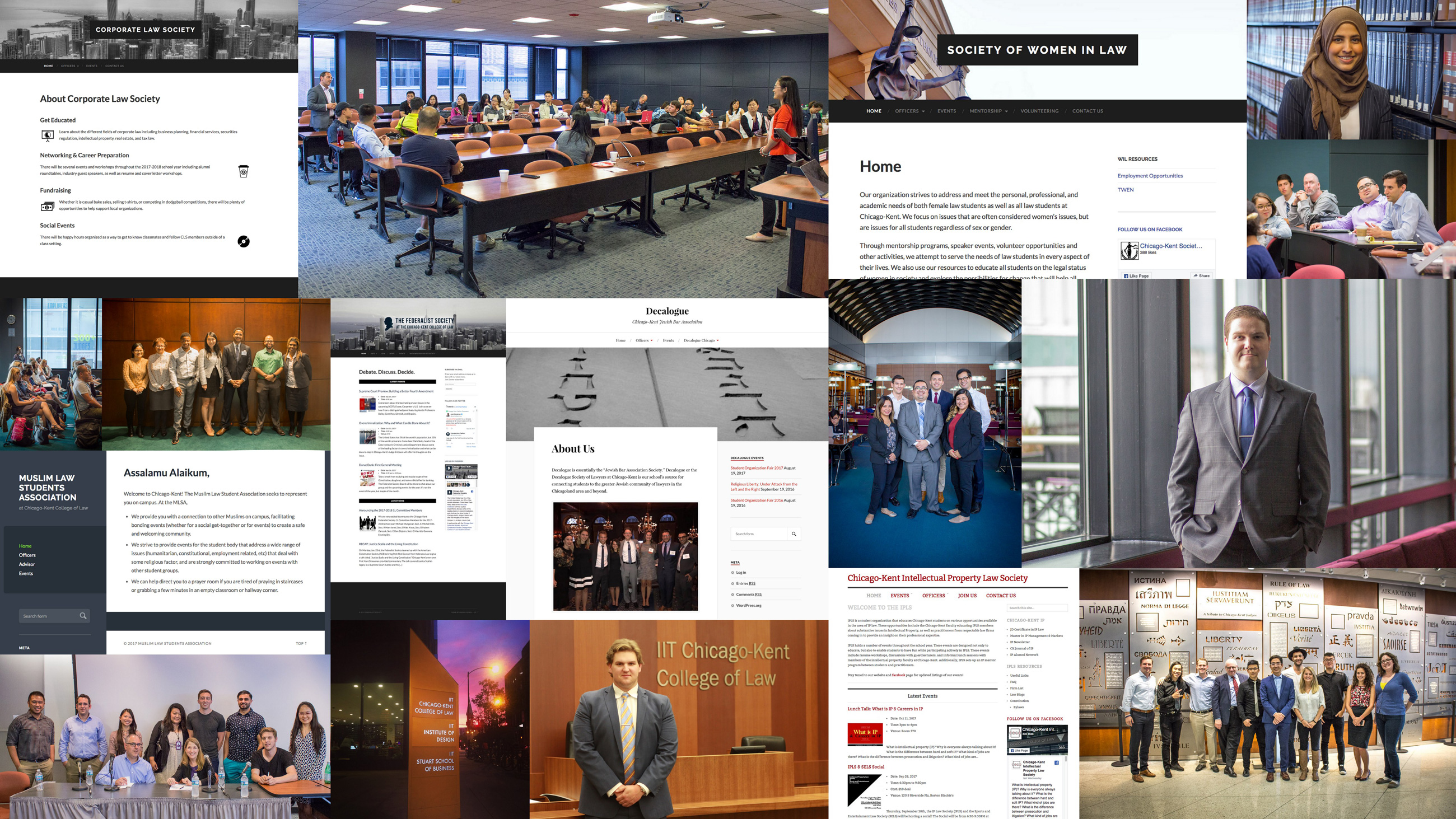 collage of websites and photos from student organizations and events